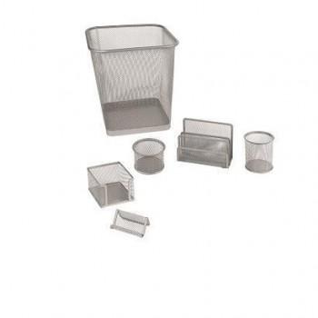 Set ufficio 6 pezzi in rete metallica silver