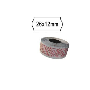 Rotolo 1000 etichette prezzatrice 26x12mm onda bianco removibile
