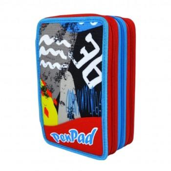 Astuccio 3 zip sj gang seven pen pad high tech boy accessoriato rosso azzurro